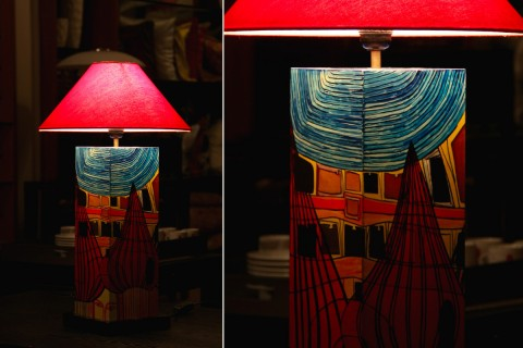 HAND PAINTED LAMP STAND